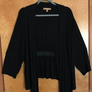 Ellen Tracy Black Front-tie Long-sleeved Shrug 3X